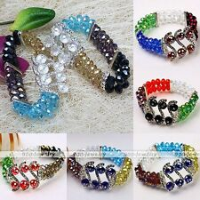 2-row Crystal Glass Faceted Gemstone Spacer S Bead Bracelet Bangle Women Jewelry
