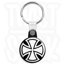 Round Iron Cross - 25mm Biker Keyring Button Badge with Zip Pull Option