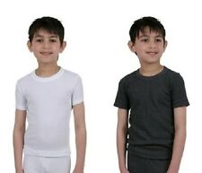 Boys Winter Thermal Short Sleeve Vest White,Grey Age 3-13 BNWT