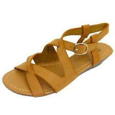 LADIES TAN COMFY WALKING GLADIATOR SANDALS LOW WEDGE BUCKLE SHOES SIZE 3-8