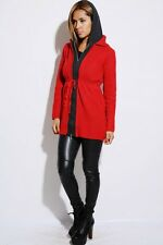 Red Fully Lined Long Sleeve Hoodie Cardigan Sweater Jacket