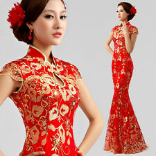 Chinese Cheongsam Evening Prom Party Wedding Mermaid Dress Ball Gown Embroidery