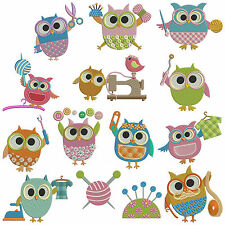 ** SEWING OWLS ** Machine Embroidery Patterns * 14 designs, 3 sizes