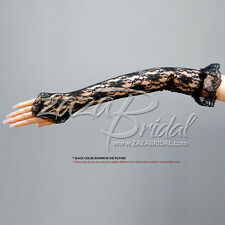 Flower Pattern Fingerless Lace Gloves w/ Elastic Ruffle Adorn w/ a Small Rosette