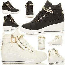 WOMENS LADIES WEDGES HI TOP CHAIN BUCKLE ANKLE SHOES PLATFORM TRAINERS BOOTS