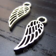 Angel Wing Wholesale Antiqued Silver Plated Charms C7894 - 20, 50 Or 100PCs