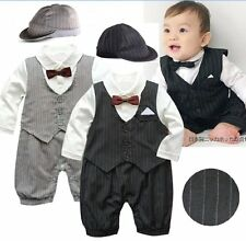 Baby Boy Wedding Christening Formal Tuxedo Suit Outfit Cloth+Hat Set NEWBORN-12M