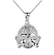 Sterling Silver Buddha Head Pendant Necklace