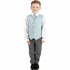 Boys Suits 4 Piece Grey Waistcoat Suit Blue Swirl Pageboy Party Formal Wedding