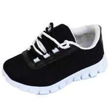 BOYS GIRLS KIDS CHILDRENS BLACK SCHOOL TRAINERS LACE FLAT SPORTS SHOES SIZE 10-5