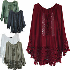 LADIES DRESS LACE CROCHET TOP ITALIAN LAGENLOOK QURIKY MONTAN PARIS SIZE 12-18