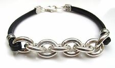 925 sterling silver chain link chunky leather bracelet cuban men cuff bangle