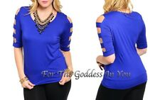 T231 ROYAL BLUE CUT AWAY SLEEVE OPEN SHOULDER KNOT TOP JUNIOR PLUS SIZE 1X 2X 3X