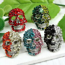 1pc Crystal Studded Skull Finger Ring us7 Adjustable Women Jewelry Punk Gothic