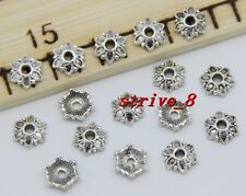 50/200/1000pcs Tibetan Silver Flower Bead Caps Charms Beads Cap Jewelry 7x2mm