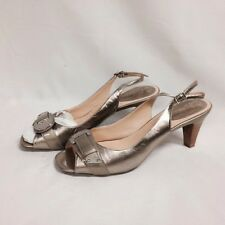 Cole Haan Air Eliana Open Toe Sling Heels 8.5 M Vintage Silver New w/ Box
