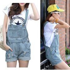 Women Girls Washed Jeans Denim Casual Hole Jumpsuit Romper Overall Short Cute