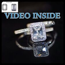 Fascino*Emerald Cut 4.8CT Engagement Ring Diamond Wedding Ring Made in Italy