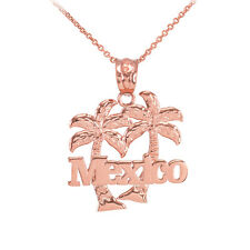 Rose 10k Gold Mexico Palm Tree Pendant Necklace