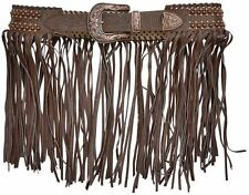 Angel Ranch Western Womens Belt Leather Floral Lacing Fringe Brown A3428
