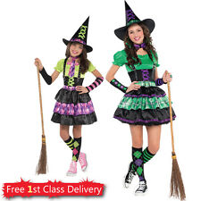 Girls Teen Witch Halloween Fancy Dress Costume Cool Wicked Witch 8-16 Years