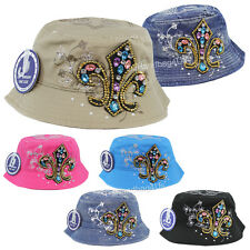 Fleur De Lis Multi-Color Rhinestone Bucket Hat Women Cotton Bling Boonie Cap New