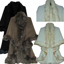 WOMENS CELEBRITY CAPE FAUX FUR DOUBLE LAYER TRIMMED WARM PONCHO SHAWL CAPELET