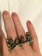 Birds on a branch ring: double finger ring Adjustable Rockabilly