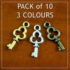 Tiny Key charms ~PACK of 10~ silver bronze gold steampunk pendant bead earring