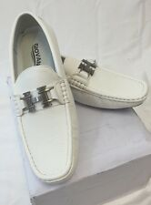 MEN GIOVANNI DRESS SHOES Loafer Casual Italian Style Slip-On Solid WHITE HOT NEW