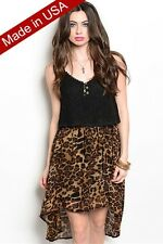 BLACK Leopard Print Combination Dress | Crochet Bodice Animal Print | NWT S M L