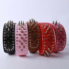 Spiked Studded Pet Dog PitBull Mastiff Leather Buckle Neck Strap Collar XS-L D40
