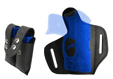 NEW Barsony Black Leather Pancake Holster + Mag Pouch Mini 22 25 32 380 w/ LASER