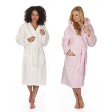 New Ladies Womens Warm Soft Cosy Hooded Snuggle Fleece Dressing Gown Robe S-XL