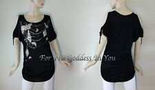 T25 SEXY BLACK OPEN SHOULDER FOIL PRINT KNIT TOP JUNIOR PLUS SIZE 1X 2X 3X
