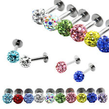 1pc Lip Chin Labret Ring Bar Stud Tragus Czech Crystal Piercing 16g