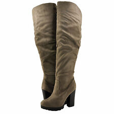 Women's Shoes Bamboo Gaby 12 Thigh High Platform Lug Sole Boot Taupe FS *New*