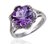 Unique Real Amethyst Flower Cut Solid 925 Sterling Silver Solitaire Ring Size 8