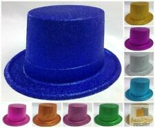 6x GLITTER TOP HAT Fancy Party Plastic Costume Tall Cap Fun Dress Up BULK New
