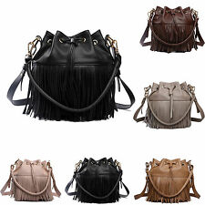 Ladies Leather Look Drawstring Fringe Tassel Bucket Shoulder Handbag