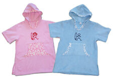 Kids Hooded Poncho Changing Towel Surf & Swim Beach Cover-Up Parka Pink or Blue