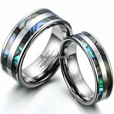 Tungsten Carbide Abalone Shell Stripe Men's Women's Ring Couple's Wedding Band