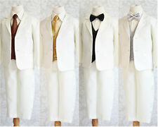 Well tailored Ivory Black gold silver brown vest tie set boy tuxedo formal suit