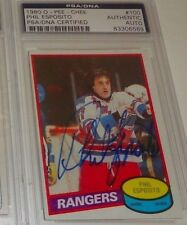 PHIL ESPOSITO 1980 O-PEE-CHEE OPC SIGNED AUTO CARD #100 PSA/DNA SLAB RANGERS