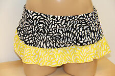 NWT 24th&ocean by VM Swimsuit Bikini Skirted Bottom Black White Yellow