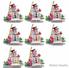 FASHION LOVELY WOMEN RHINESTONE CRYSTAL CREAM SNOWMAN BROOCH PIN CHRISTMAS GIFTS
