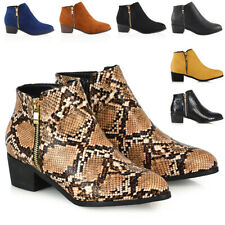 WOMENS LADIES LOW HEEL BLOCK COWBOY STYLE LADIES GOLD ZIP WESTERN ANKLE BOOTS