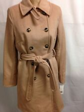 DKNY Petite Double Breasted Belted Cashmere Wool Trench Coat 4P Camel  NWT
