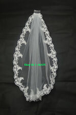 New White/Ivory Handmade Elbow Bridal Wedding Veil With Comb Lace Applique Edge