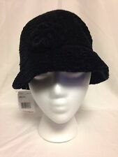 August  Womens Charming Chenile Cloche Hat One Size  #16330 Black  NWT